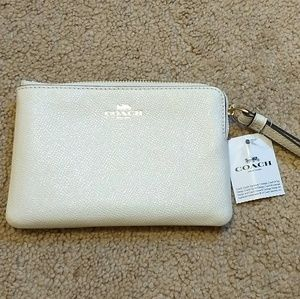 Coach wristlet leather glitter chalk NWT authentic
